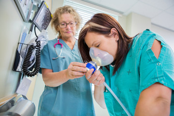 Woman in Active Labor Receiving Nitrous Oxide