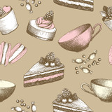 Hand drawn sweet cakes, candies, ice cream background.
