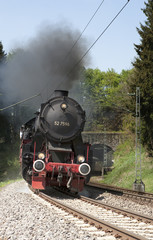 Steam train Schwarzwaldbahn on the tracks