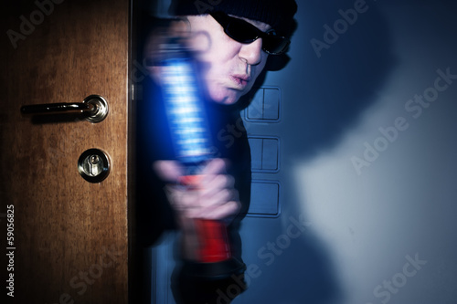 Intrusion of thief in a house