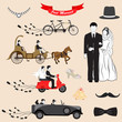 vector illustration of Just Married design set