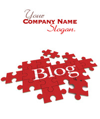 Blog  puzzle in red