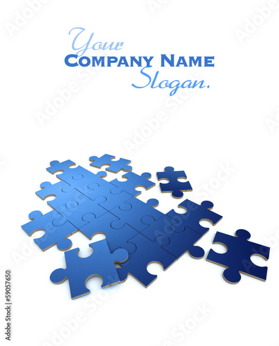 Blue  puzzle in white background