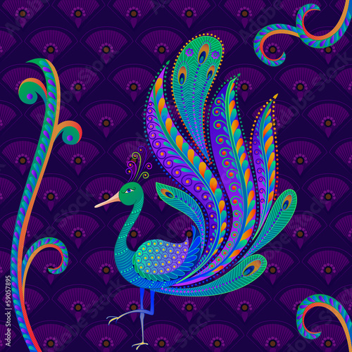vector illustration of colorful decorated peacock