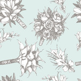 Vector pattern with hand drawn wedding bouquets