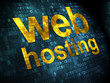 SEO web design concept: Web Hosting on digital background