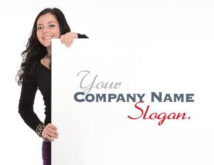 Casual brunette holding a vertical signboard