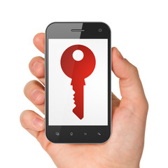 Privacy concept: Key on smartphone