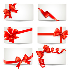 Set of beautiful gift cards with red gift bows with ribbons Vect