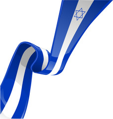 israel ribbon flag isolate on white