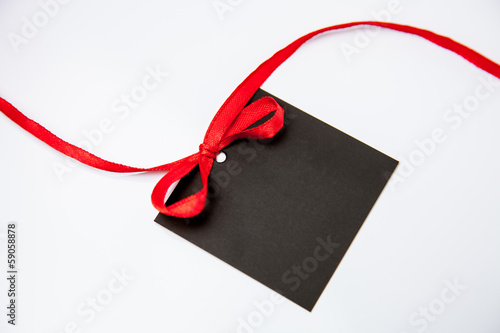 Empty black card with bow