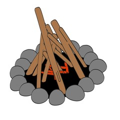 cartoon image of campfire