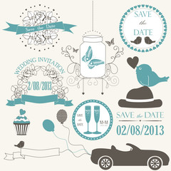 Vector set of decorative wedding elements in pastel color.