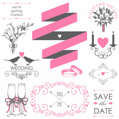 Vector set of wedding design elements for wedding card