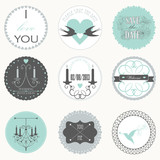 Vector collection of decorative wedding stickers