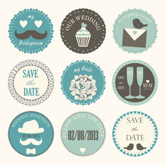 Vector collection of decorative wedding icons in retro colors.