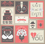 Vector collection of wedding cards in red colors.