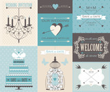 Vector collection of vintage wedding cards.