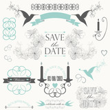 Vintage collection of Vector wedding design elements