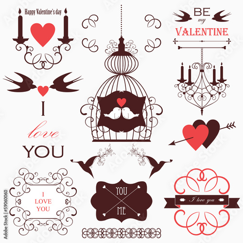 Vintage collection of Vector wedding design elements.