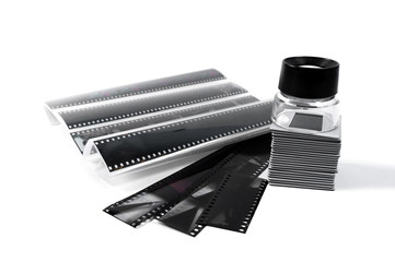 Slide, Loupe and film strips