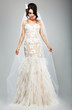 Wedding Style. Elegant Bride in White Long Bridal Dress