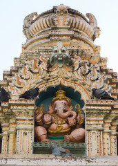Statue of Ganesha on top of Nandi Temple in Bangalore.