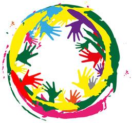 cornice creata con schizzi di colore e mani