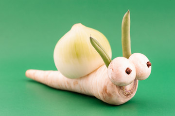 Funny vegetable snail