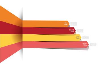 Infografica esempi frecce colorate numeri nastro fascia