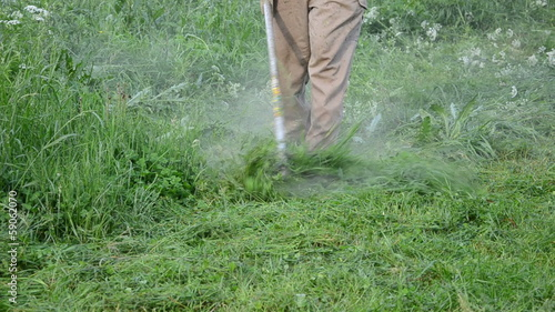 farmer man trim wet high grass after rain