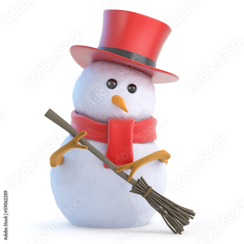 Snowman top hat sweeps up the mess