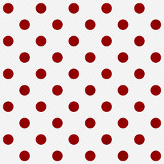 Red Polka Dots on White Textured Fabric Background
