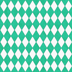 Teal and White Diamond Shape Fabric Background