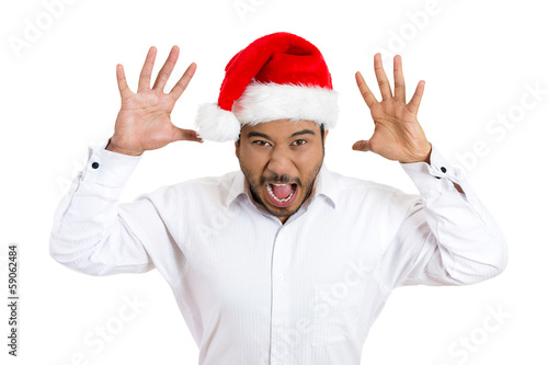 Mean, rude Christmas man sticking out his tongue