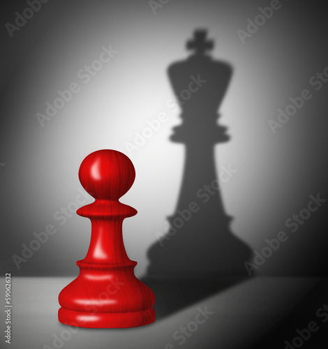 Chess pawn with the shadow of a king. - 59062632