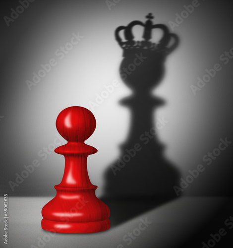Chess pawn with the shadow of a king - 59062635