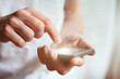 hands with smartphone, text messages and emails
