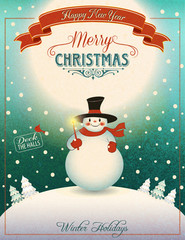 Snowman on the Hill - Christmas Greeting Card
