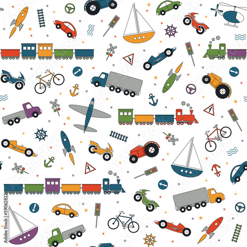 traffic elements pattern on white background
