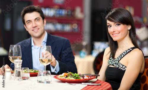 Couple having a dinner in a luxury restaurant