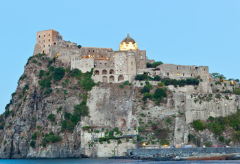 Aragonese Castle in Ischia island by night