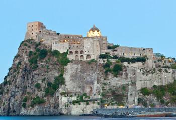 Aragonese Castle in Ischia island by night