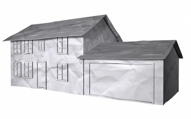3D Illustration of a wrinkled paper textured house on white