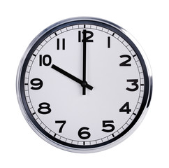 Round office clock shows ten o'clock