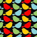 Colorful birds seamless patterns.