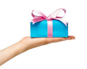 Geschenk mit rosa Schleife isoliert