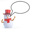 Snowman top hat with speech bubble