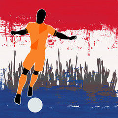 Football Netherlands, Vector Soccer player over a grunged Dutch
