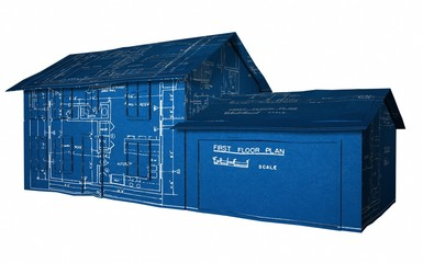 3D Illustration of a house textured with a blueprint on white